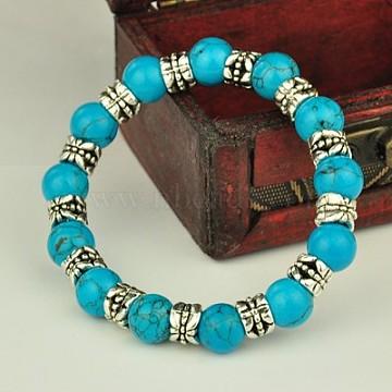 Fashion Tibetan Style Bracelets, Stretch Bracelets, with Gemstone Beads, Synthetic Turquoise, 53mm(X-BJEW-JB00887-02)
