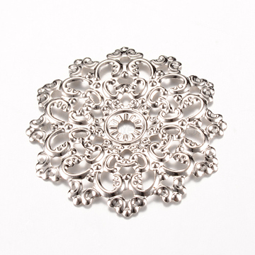 Iron Links, Etched Metal Embellishments, Flower, Platinum, 48x47x2~3mm, Hole: 2mm(X-IFIN-Q118-26P)