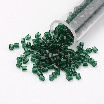 11/0 Two Cut Round Hole Glass Seed Beads, Hexagon, Transparent Colours, DarkGreen, 2x2mm, Hole: 0.5mm; about 41000pcs/pound(SEED-G006-2mm-17)