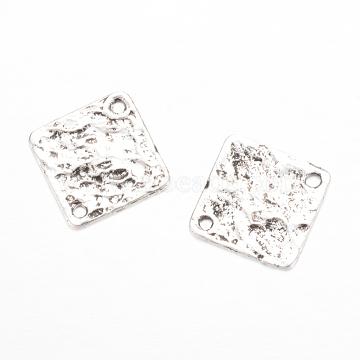 Tibetan Style Alloy Links connectors, Rhombus, Cadmium Free & Lead Free, Antique Silver, 22.5x22.5x1mm, Hole: 2mm(X-TIBEP-Q002-71AS-RS)