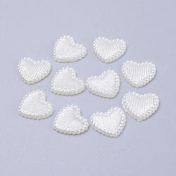 Cabochons de perles acryliques, teint, cœur, blanc crème, 13.5x14x2mm(X-MACR-F024-22)