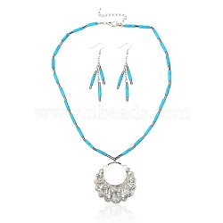 Line Turquoise Alloy Charm Jewelry Sets, Necklaces and Earrings, with Hematite Beads, Alloy Lobster Claw Clasps and Brass Earring Hooks, Antique Silver Metal Color, DeepSkyBlue, 18.9 inches, 60mm(SJEW-PJS333)