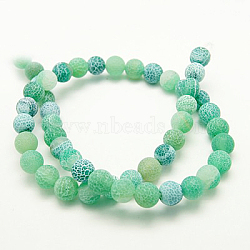 Natural Crackle Agate Beads Strands, Dyed, Round, Grade A, Green, 4mm, Hole: 0.8mm; about 93pcs/strand, 15inches
