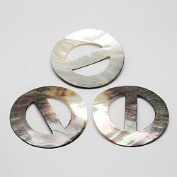 Plat rond boucles noires shell lèvres, couleur mixte, 75x3mm, Trou: 42x18mm(BUTT-M013-03)