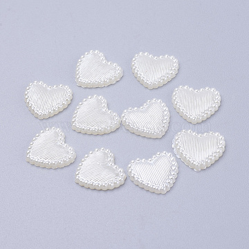 Acrylic Pearl Cabochons, Dyed, Heart, White, 13.5x14x2mm(X-MACR-F024-22)