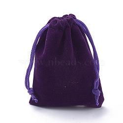 Pochettes rectangle en velours, sacs-cadeaux, indigo, 9x7 cm(TP-R002-7x9-08)