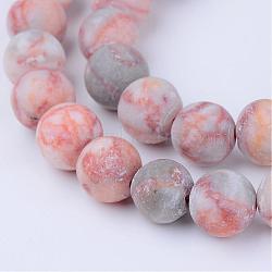 """Природные netstone бисер нитей, круглые, матовые, 8~8.5 мм, Отверстие : 1 мм; около 47 шт / нитка, 15.5""""(G-Q462-8mm-14)"""