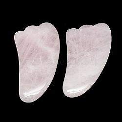 Planches gua sha en quartz rose naturel, grattage des outils de massage, outils pour le visage gua sha, ailier, 90~102x45~51x5~7.5mm(G-S336-55)