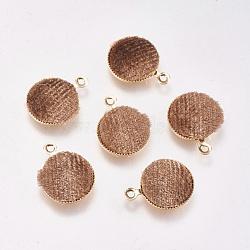 Breloques en laiton, de velours, plat rond, véritable plaqué or, brun, 14x12x3mm, Trou: 1mm(KK-P138-13B)