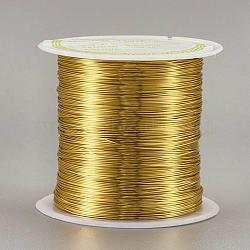 fil de cuivre fil de perles de cuivre, plaqué longue durée, or, Jauge 26, 0.4 mm; 38 m / rouleau(CWIR-F001-G-0.4mm)
