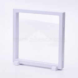 Plastic Frame Stands, with Transparent Membrane, For Ring, Pendant, Bracelet Jewelry Display, Square, White, 18x18x2cm(ODIS-P006-02A)