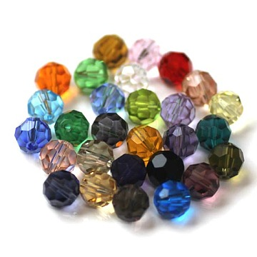 Imitation Austrian Crystal Beads, Grade AAA, Faceted, Round, Mixed Color, 6mm, Hole: 0.7~0.9mm(SWAR-F021-6mm-M)