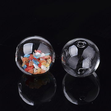 Handmade Blown Glass Globe Beads, Round, Clear, 25.8x25.5mm, Hole: 2~2.5mm(X-DH017J-1-25mm)