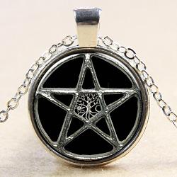 """Étoile avec arbre de modèle de vie circulaire et plat pendentifs en verre, avec des chaînes d'alliage, argenterie, 18""""(NJEW-N0051-006I-02)"""