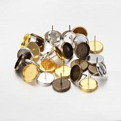 Laiton supports clous d'oreilles cabochon, couleur mixte, plat plateau rond: 12mm; 12mm; broches: 1mm; 3pcs / set(IFIN-X0035)