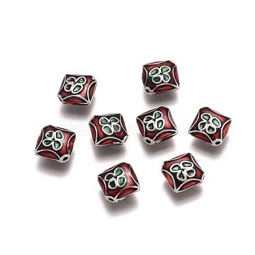 Antique Silver DarkRed Rhombus Alloy+Enamel Beads