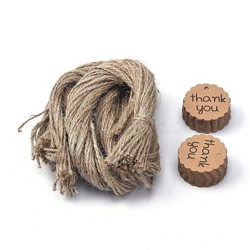 Thank You Paper Gift Tags, Hang Tags, with Jute Twine, for Wedding Thanksgiving, Flat Round, Tan, 4x0.01cm, Hole: 3.5mm, 100pcs/set; Jute Twine: about 51~52cm(CDIS-P002-01)