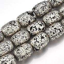 Chapelets de perles en lave naturelle électrolytique, baril, argent antique plaqué, 16~16.5x12~12.5mm, trou: 1mm; environ 23~24 pcs/chapelet, 15.1''~15.7''(G-S249-04-12x16)
