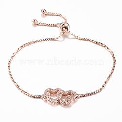 """Bracelets réglables en laiton avec zircone cubique à micro-pavé, bracelets bolo, coeur imbriqué avec l'infini, or rose, 10-1/4"""" (260 mm); 1.2mm(BJEW-E317-24RG)"""