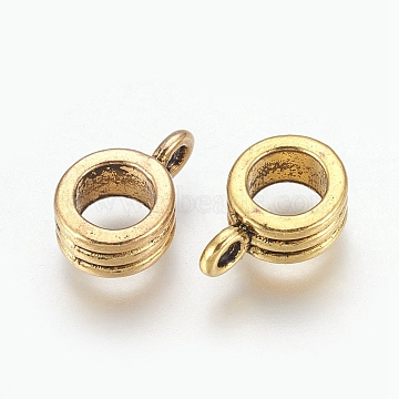 Tibetan Style Hangers, Bail Beads, Lead Free & Cadmium Free, Antique Golden, Size: about 13mm long, 8mm wide, 5mm thick, 4.5mm inner diameter, Hole: 2mm(X-PALLOY-E0037-AG-LF)
