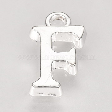Alloy Charms, Letter, Silver Color Plated, Letter.F, 15x8.5x2mm, Hole: 2mm(X-TIBE-R313-049S-F)