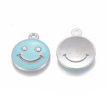 Alloy Rhinestone Enamel Pendants, Platinum Metal Color, Flat Round Smily Face, Sky Blue, 19~20x17mm, Hole: 1mm(E387-02)