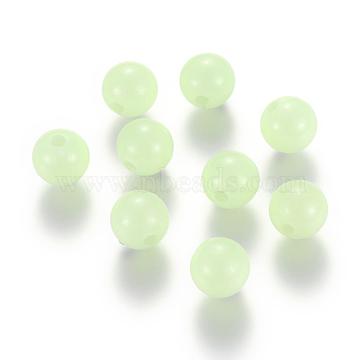 Luminous Acrylic Round Beads, PaleGreen, 4mm, Hole: 1.5mm; 100pcs(LACR-YW0001-01-4mm)