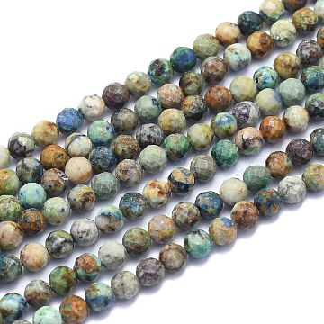 Natural Chrysocolla Beads Strands, Round, Faceted, 6mm, Hole: 0.8mm; about 64pcs/Strand, 15.35 inches(39cm)(G-K310-A16-6mm)