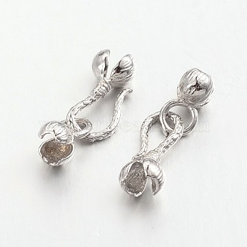 Brass Hook and S-Hook Clasps, Flower, Lead Free & Cadmium Free, Platinum, 28x7x6mm, 3.5mm Inner Diameter(X-KK-M141-04P-RS)
