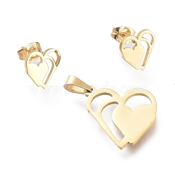 Valentine's Day 304 Stainless Steel Jewelry Sets, Pendants and Stud Earrings, with Ear Nuts, Heart with Heart, Golden, 20x17.5x1mm, Hole: 5.3x2.7mm; 10x9.5mm, Pin: 0.7mm(SJEW-K154-28G)