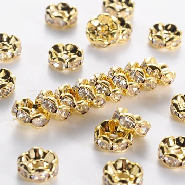 8mm Clear Rondelle Brass + Rhinestone Spacer Beads