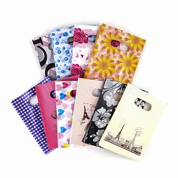 Printed Plastic Bags, Rectangle, Mixed Color, 20x15cm(PE-T003-15x20cm-M)