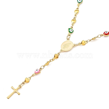Unisex 304 Stainless Steel Rosary Bead Necklaces(NJEW-L457-001B-G)-1
