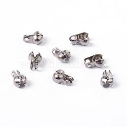304 acier inoxydable caches noeuds de surface lisse, calotte se termine, couverture de noeud à clapet, couleur inoxydable, 6.5x4mm, Trou: 1mm(X-STAS-D150-02P)