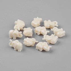 Des billes de résine d'éléphant, beige, 18x12x8mm, Trou: 2mm(X-RESI-S046-07)