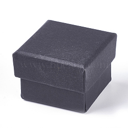 Coffrets cadeaux de bijoux en papier carton carton rempli de coton kraft, boîte de bague, carrée, noir, 4.5x4.5x3 cm(CBOX-WH0003-01A)