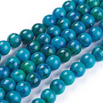 Natural Chrysocolla Beads Strands, Dyed, Round, 8mm, Hole: 1.4mm; about 33pcs/strand, 10inches(25.5cm)(X-G-F647-02-B)