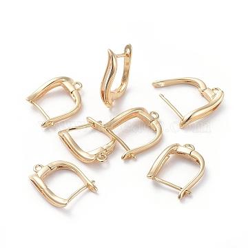 Accessoires de boucle d'oreilles en laiton, avec boucle, Plaqué longue durée, véritable plaqué or, 15.5x12x3mm, trou: 1.2 mm; broches: 0.8 mm(KK-L180-108G)