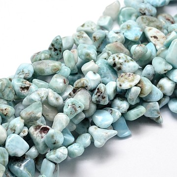 Natural Larimar Chip Beads Strands, 8~12x4~6mm, Hole: 1mm; about 15.5 inches(G-E271-129)