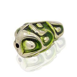 Antique Silver Alloy Enamel Teardrop Beads, Yellow Green, 34x21x20mm, Hole: 3mm(ENAM-J262-01AS)