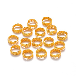 Plated Iron Twisted Hair Coil Dreadlock Beads, Dread Cuff Coil, Ring, 4 Loops, Golden, 14x5mm, Hole: 11.5mm(IFIN-S696-110G)