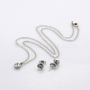 Stainless Steel + Rhinestone Stud Earrings & Necklaces