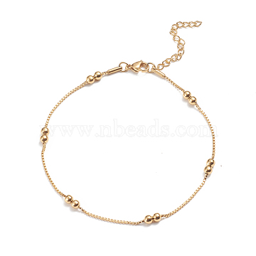 304 Stainless Steel Box Chain Anklets, with Round Beads and Lobster Claw Clasps, Golden, 9-7/8 inches(25cm), 1.5mm(AJEW-G024-12G)