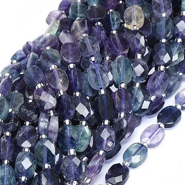 Natural Fluorite Beads Strands, Faceted, Flat Oval, 10~10.5x8x3.5~4mm, Hole: 1mm; about 32pcs/strand, 15.7inches(40cm)(G-O180-20A)