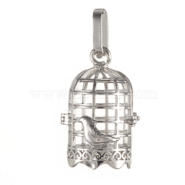 Brass Cage Pendants, For Chime Ball Pendant Necklaces Making, Cadmium Free & Nickel Free & Lead Free, Bird in The Cage, Platinum, 28.5x19x16mm, Hole: 3.5x9mm, Inner Diameter: 13.5x17mm(X-KK-K163-20P-NR)