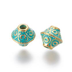 perles d'alliage, Toupie, patine dorée et verte, 6.5x6 mm, trou: 1.8 mm(PALLOY-E552-30GG)