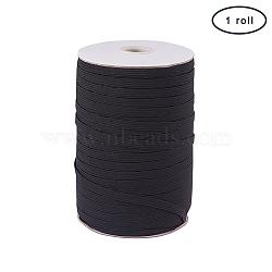 PandaHall Elite Flat Elastic Cord, Beading Crafting Stretch String, Black, 6x1mm; about 200yards/roll(600 feet/roll)(EC-PH0001-07B)
