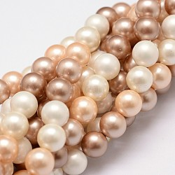 Polished Shell Pearl Bead Strands, Grade A, Round, Mixed Color, 8mm, Hole: 1mm, about 24pcs/strand, 8 inches(20.32cm)(X-BSHE-F013-07B)