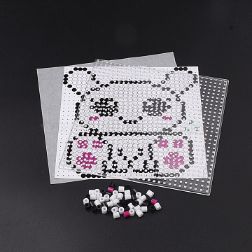 DIY Bunny Melty Beads Fuse Beads Sets: Fuse Beads, ABC Plastic Pegboards, Pattern Paper, and Ironing Paper, Sitting Rabbit Pattern, Square, Colorful, 14.7x14.7cm(DIY-S033-013)