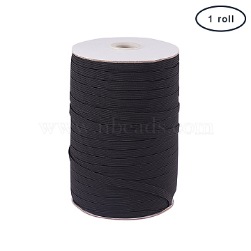 PandaHall Elite Flat Elastic Cord, Beading Crafting Stretch String, Black, 6x1mm, about 200yards/roll(600 feet/roll)(EC-PH0001-07B)